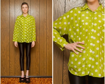 Vintage 90s Newport News Lime Neon Green White Polka Dot Circle Graphic Pattern Geometric Silk Button Up Oversized Blouse Shirt Top S M L