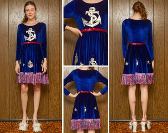 July 4th Metallic Red White Blue Silver Sequined Anchor Sailor Navy USA Fringed Velvet Long Sleeve Patriotic Dance Costume A Line Dress S M