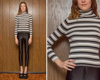 Vintage 90s Y2K Ann Taylor Loft Black Gray White Stripe Striped Preppy Goth Industrial Ribbed Preppy Long Sleeve Turtleneck Sweater Top S M