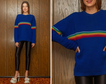 Vintage 70s 80s Classic Royal Blue Rainbow Textured 3-D Striped Wool Multi Stripe Crewneck Thick Heavy Long Sleeve Ski Jumper Sweater L XL