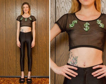 Black Silver Green Riddler Money Sign Dollar USD Mesh Sheer Shiny Nylon Stretch Sequined Short Sleeve Crew Neck Crop Top Blouse XS S O/S
