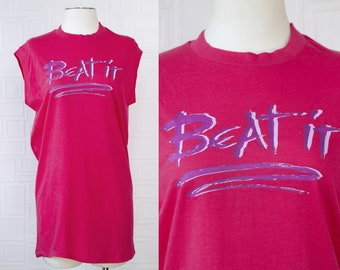 Vintage 80s NEW Hanes Cotton Magenta Pink Purple Beat It Weird Al Graphic Heat Press Slim Fit Muscle T-Shirt Sleeveless Tank Top Unisex L XL