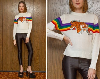 36fcfce2b4b0 Vintage 70s 80s Acrylic White Rainbow Embroidered Shiny Orange Pouncing  Tiger Silver Metallic Velvet Patch Striped Long Sleeve Ski Sweater S