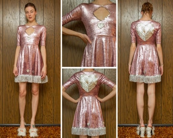 Dusty Rose Metallic Pink Silver Gray Sequined Fringed Valentine's Day Heart Costume Crushed Velvet Half Sleeve Keyhole A Line Princess Dress