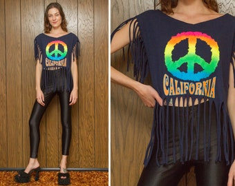 Vintage 90s Dark Navy Blue Peace Symbol Sign California Rainbow Hippie Dead Head Screen Print Sleeveless Fringe T-Shirt Crop Tank Top XS S M