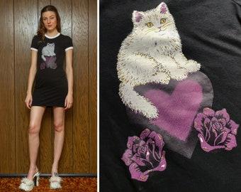 Vintage 90s White Kitty Cat Heart Flower Rose Gold Glitter Graphic Short Sleeve Black Purple Pink 90s Vibes Mini Ringer T Shirt Dress XS S