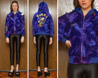 Vintage 70s 80s Blue Purple Embroidered Korea Kimmy Dragon Shiny Crushed Velvet Faux Fur Zip Removable Split Hood Hooded Lined Bomber Jacket