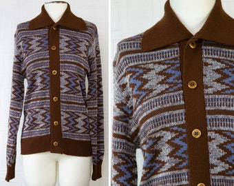 Vintage 70s 80s The Knitting Mill Brown Blue White Zig Zag Striped Wood Button Collared Long Sleeve Grandpa Preppy Sweater Cardigan fits S M
