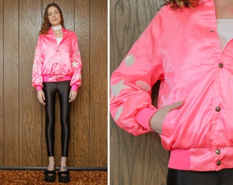 Vintage 80s 90s Neon Hot Bright Pink White Nylon Shiny Sequin Star Circle Dot Sequined Arm Patch Applique Glow Dance Baseball Jacket S M L