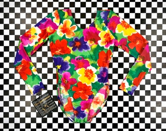 Vintage 90s Classic Rainbow Flower Floral Print Elite Sports Nylon Acetate Blend Long Sleeve Scoop Neck Aerobic Dance Leotard Bodysuit XS S