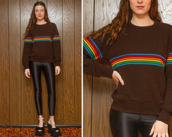 e544b6e46 Vintage 70s 80s Classic Dark Chocolate Brown Rainbow Multi Striped Color  Block Stripe Crewneck LGBTQ Knit Long Sleeve Ski Jumper Sweater M