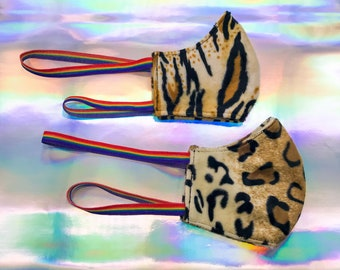 Thick Warm Thick Washable Reusable Protective Face Mask Health Safety Outdoor Festival Rainbow Elastic Tiger Leopard Faux Fur Adult Youth