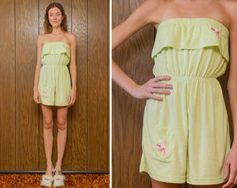 Vintage 90s Lime Green Pink Embroidered Flamingo Terry Cloth Ruffle Smocked Waist Strapless Tube Pocket Romper Jumpsuit Shorts Coverup S M L