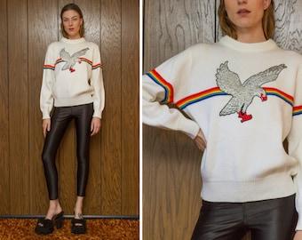Vintage 70s 80s Ivory White Cream Rainbow Preppy Stripe Ski Striped Metallic Silver Eagle Silk Embroidered Velvet Patch Sweater Jumper S M