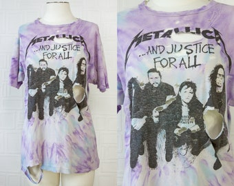 Vintage 90s RARE Thrashed Thin Tie Dye Metallica Metal Band And Justice For All Tour 1992 Purple Teal Blue White Graphic Grunge T-Shirt M L