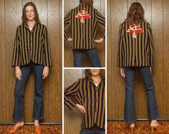 Vintage 60s 70s Black Gold Red Stripe Striped Embroidered Mushroom Star Alice In Wonderland Caterpillar Smoking Back Patch BlazerJacket M L