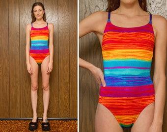 Vintage 90s Rainbow Striped Stripe Tropical Serape Southwestern Textured Purple Strap High Hi Cut Cross Back Strappy One Piece Swimsuit S M
