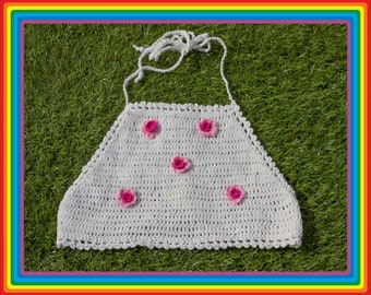 Vintage 90s Y2K White Pink Waffle Textured Crochet Sheer Mesh Beaded 3-D Daisy Flower Floral Cotton Crop Halter Top One Size Only fits S M L