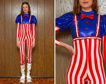 Vintage 90s Red White Blue USA Patriotic July 4th Uncle Sam Striped Long Sleeve High Neck Bow Tie Sequined Jumpsuit Biketard Costume XS S