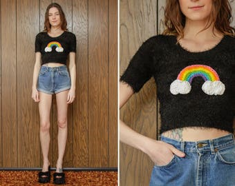 Up-cycled Deadstock Black Fuzzy Furry Crochet Pastel Rainbow Clouds Patch Striped Pride Gay LGBTQ Stripe Short Sleeve Crop Top Sweater S M L