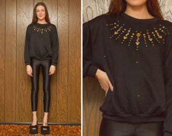 Vintage 80s NEW Rainbow Black Gold Faux Jewel Jeweled Bejeweled Stud Studded Holiday Christmas Crew neck Thin Sweatshirt Sweater fits S M L