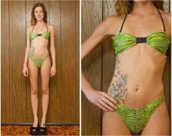 Vintage 80s 90s RARE Black Neon Yellow Green Textured Square Snake Ruche Halter Graphic Vaporwave Top High Hi Cut Bikini Swimsuit M