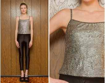 Vintage 90s Y2K Teen Black Silver Shiny Sequin Disco Ball Strappy Sleeveless Metallic Spaghetti Strap Scoop Neck Stretch Cami Tank Top S M