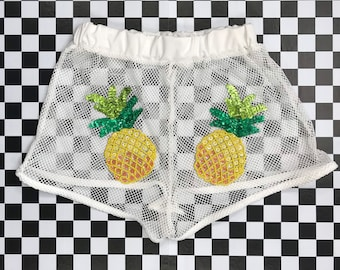 Vintage 90s Y2K White Sheer Mesh Fishnet Yellow Pineapple Butt Sequined Tropical Fruit Appliqué Club Rave Exotic Dance Rave Club Shorts S M