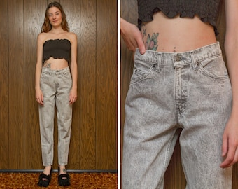 Vintage 80s Levi's Black Silver Tab Light Gray Acid Wash Speckled Relaxed Zip Fly Straight Tapered Leg Boyfriend High Waist Denim Jean 27x31