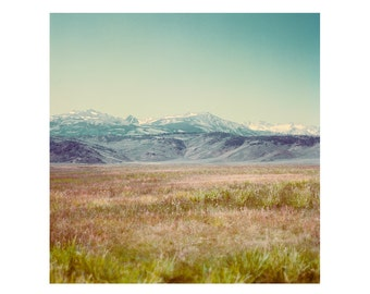 Print Only - Bridgeport California Rural Landscape Film Color Purple Mountains Purple Majesty USA Summer Grass Photography Photograph Square
