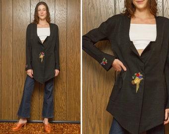 Vintage 70s Black Gold Red Blue Green Taffetta Glass Beaded Applique Flower Bouquet Hand Asymmetrical Silk Long Sleeve Jacket Dress Coat M L