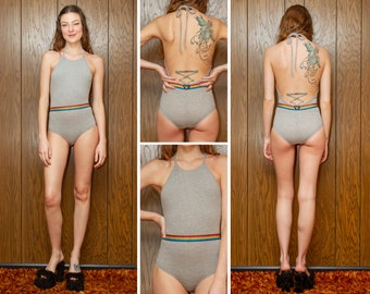 Vintage 90s Heather Gray Metallic Rainbow Elastic Belted Striped Pride Shiny Black Heart Stretch Jersey Halter Open Back Leotard Bodysuit XS