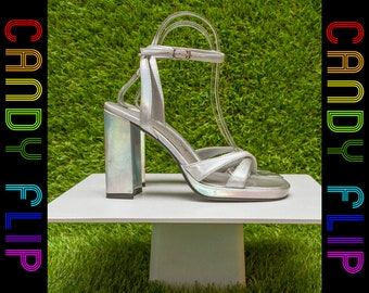 Vintage 90s Y2K Fioni Holographic Cyber Silver Rainbow Shiny Faux Patent Leather Strappy Chunky High Heel Ankle Strap Women's Shoes 5