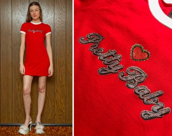 Vintage 70s Shiny Metallic Glitter Pretty Baby Heart Graphic On New Short Sleeve Bright Red White 90s Vibes Mini Ringer T Shirt Dress S - L