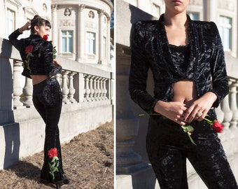 Red Rose Embroidered Black Crushed Velvet Sequined Spanish Salsa Dance Bolero Jacket Bell Bottom Crop Top 3 pc. Suit Costume Set Tall XS S
