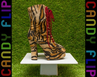 Vintage 90s Classified Velboa Black Tan Brown Burgundy Faux Fur Tiger Striped Chunky Platform Animal Print Lace Up Mid Calf Booties Boots 7