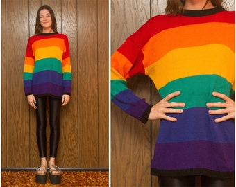 Vintage 80s 90s CSL Rainbow Black Striped Horizontal Color Block Long Tunic   Oversized Gay LGBT Pride Sweater Jumper Sweater M