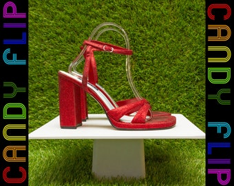 Vintage 90s Red Glitter Dorothy Wizard of Oz Ruby Slippers T-Strap Strappy Thick Chunky Block Heel Club Kid Goth Metallic Sandals Shoe 8.5