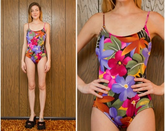 Vintage 80s 90s Lands End Tropical Black Romper Shelf Bra Gold Green Blue Pink Purple Hibiscus Graphic Print Swimsuit One Piece M L