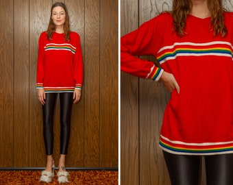 Vintage 80s 90s Soft Lightweight Thin Bright Red White Rainbow Ribbed Striped Multi Crewneck Raglan Long Sleeve Aerobics Jumper Sweater S M