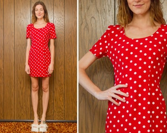 Vintage 90s Minnie Mouse Vibes Red White Polka Dot Valentine's Day Love Graphic Print Short Sleeve Scoop Neck Fitted A Line Mini Dress XS S