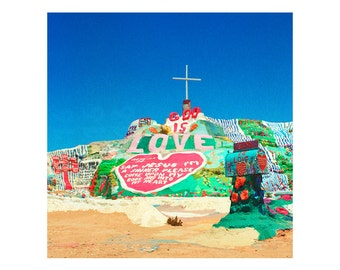 Print Only - Salvation Mountain Folk Art God Love Cross Desert California Slab City Film Color 120mm Landscape Photography Photograph Square