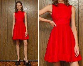 Vintage 50s 60s Bright Red Layered Taffeta Organza Peplum Ruffle Sleeveless Brocade Pleated Tea A-Line Boatneck Knee Length Mini Dress XS S