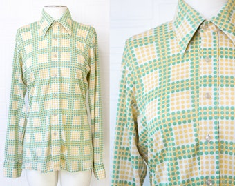 Vintage 70s Distressed Thrashed Thin Green Yellow Polka Dot Striped Square Pattern Button Collared Long Sleeve Jaymar Mens Oxford Shirt M L