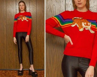 Vintage 70s 80s Acrylic Red Rainbow Embroidered Orange Pouncing Tiger Gold Metallic Silk Velvet Patch Striped Long Sleeve Ski Sweater S M