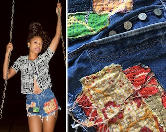 Vintage 80s 90s Levi's Red Tab Patchwork Patch Festival Boho Made in USA Cut Off Frayed Button Up Denim Jean High Waist Shorts 7 24