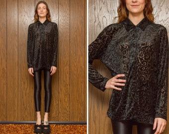Vintage 90s Filigree Black Burn Out Velvet Jennifer Moore Soft Rayon Polyester Mesh Sheer Textured Long Sleeve Collared Button Blouse Top L