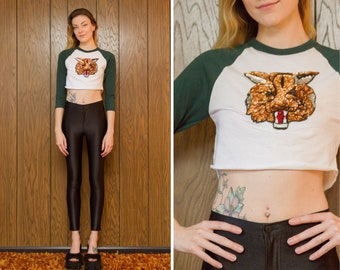 90s Vibes Hunter Forest Green White Sequined Metallic Bob Cat Copper Brown Red Silver Black 3/4 Sleeve Crew Neck Crop Baseball T-Shirt XS S
