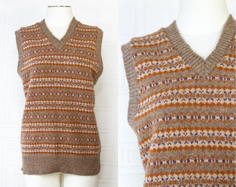 Vintage 70s 80s Sears Mens Sportswear Brand Light Brown Tan Cream Orange Purple Striped Sleeveless V-Neck Sweater Vest L XL