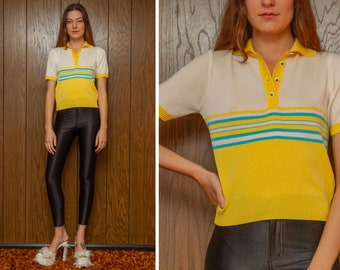 Vintage 90s Y2K Yellow White Aqua Blue Pastel Color Block Half Button Collared Short Sleeve Striped Golf Preppy Henley Blouse Top Shirt S M